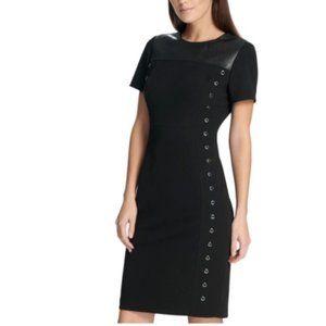 DKNY Womens Grommet Faux Leather Trim T-Shirt Dres